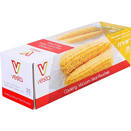 Bolsas para sellar al vacío de Vesta Precision | Bolsas para selladora al vacío transparentes y gofradas | Estándares | 27.9 x 40.6 cm (11 x 16 pulg.) | 25 bolsas para vacío por caja