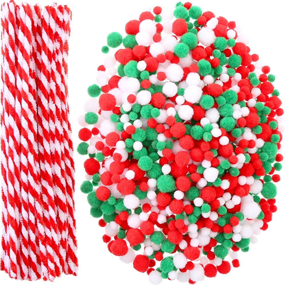 Sumind 1000 Pieces Christmas Pom Poms and 100 Pieces Pipe Cleaners Chenille Stems for Christmas Craft Party Supplies