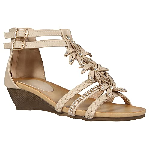 fd561c71e76 LADIES WOMENS GLADIATOR STRAPPY WEDGE SANDAL SUMMER EVENING DRESS PARTY  SHOE DIAMANTE FLOWER FLORAL BEACH BUCKLE