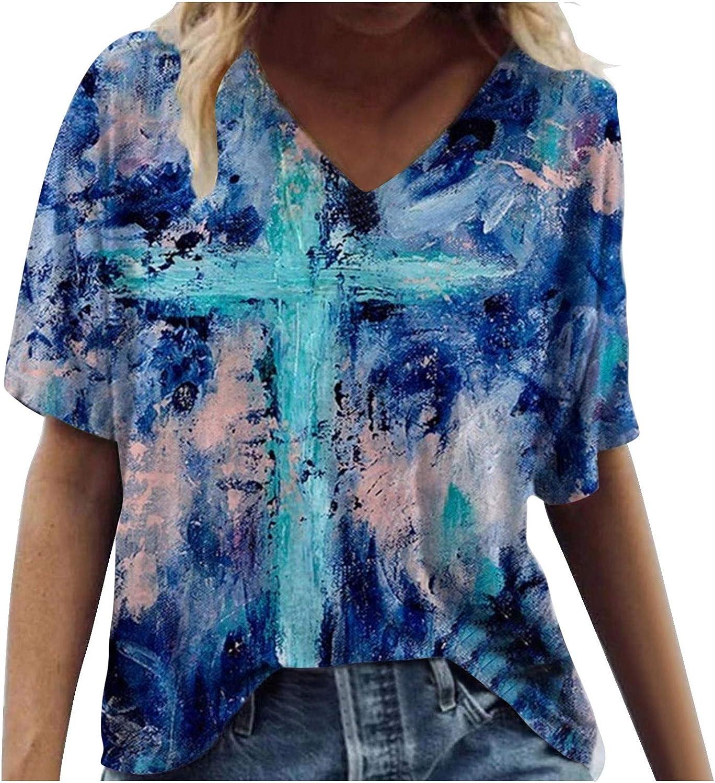 FABIURT Shirts for Women Under 10 Dollars Womens T Shirt Casual Cotton Short Sleeve V-Neck Graphic T-Shirt Tops Tees Blue