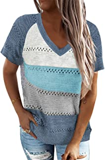 Women's Casual Summer V Neck Tops Basic Color Block Tshirts