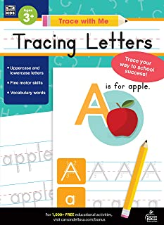 Carson Dellosa – Tracing Letters Activity Book for Toddlers, Grade PK, K, 1st, 2nd Grade, Paperback, 128 Pages, Ages 3+ (Trace with Me)