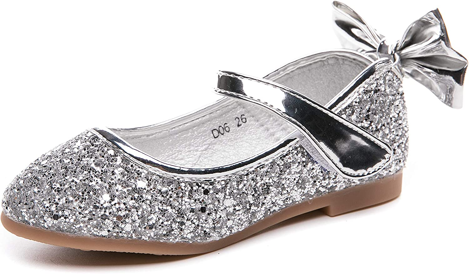 Je-Gou Kid's Girl's Adorable Bowknot Sparkle Mary Jane Flats Glitter Princess Wedding Party Dress Shoes