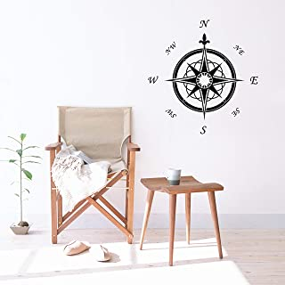 Compass Rose Vinyl Wall Decal, Marine Theme Removable Wall Stickers for Bedroom Living Room School Office, Home Decor Wall Sticker, Nursery Decor(Y02) (Black(50x50cm))