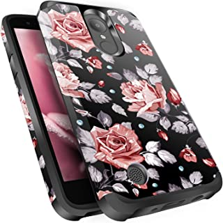 LG Aristo Case, Risio 2 Case, Phoenix 3 Case, Fortune/Rebel 2 LTE/K8 2017 Case, Miss Arts Slim Anti-Scratch Dual Layer Hybrid Sturdy Armor Protective Cover Case for LG LV3 -Rose Gold Flower/Black