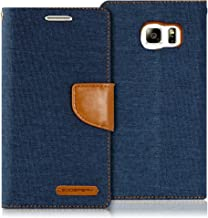 Goospery Canvas Wallet for Samsung Galaxy S6 Edge Case (2015) Denim Stand Flip Cover (Navy) S6E-CAN-NVY