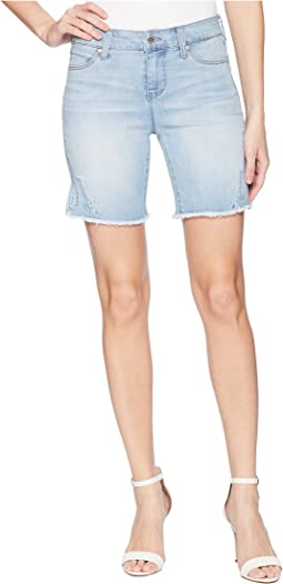 Corine Shorts Fray Hem Embroidered w/ Slit in Vintage Super Comfort Stretch Denim in Winstin