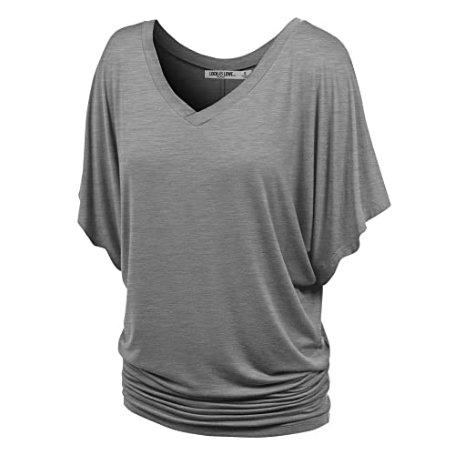 881c0bf40807d Lock and Love Women s Solid Short Sleeve Boat Crew Neck V Neck Dolman Top  XS -