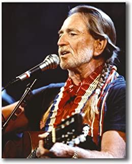 Globe Photos ArtPrints Willie Nelson Playing Guitar in Black Shirt - 8