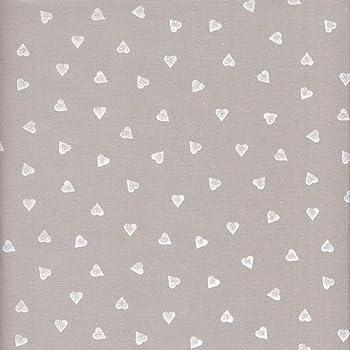 Tela gris perlado y blanco - Corazones - 100% algodón suave ...