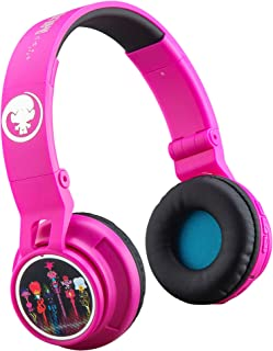 Trolls World Tour Wireless Bluetooth Kids Headphones Portable with Microphone, Volume Reduced to Protect Hearing Rechargeable Battery, Adjustable Kids Headband for School Travel
