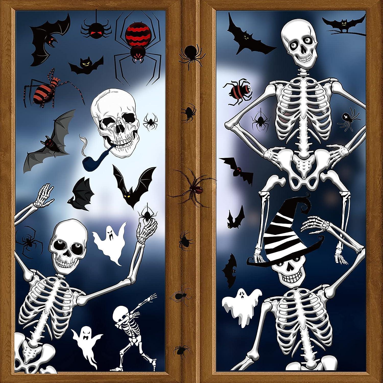 HOWAF Halloween Ventanas Pegatinas Decoración, 50pcs Calavera Esquelet Pegatinas para Halloween Pared Puerta Casa Decoración, Halloween Horror Decoración, Murciélagos Arañas Fantasma Pegatinas