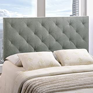 Modway Theodore Tufted Diamond Pattern Linen Fabric Upholstered Queen Headboard in Gray