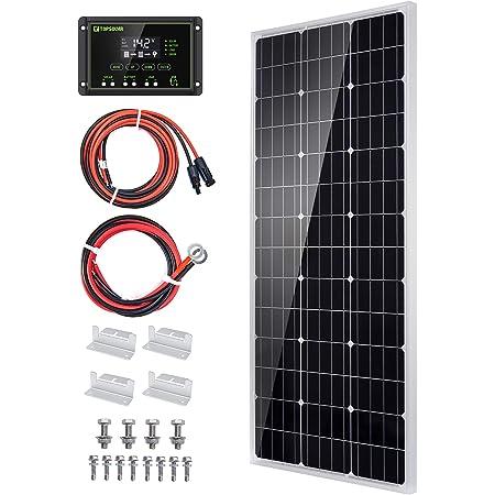 Topsolar Solar Panel Kit 100 Watt 12 Volt Monocrystalline Off Grid System for Homes RV Boat + 20A 12V/24V Solar Charge Controller + Solar Cables + Z-Brackets for Mounting