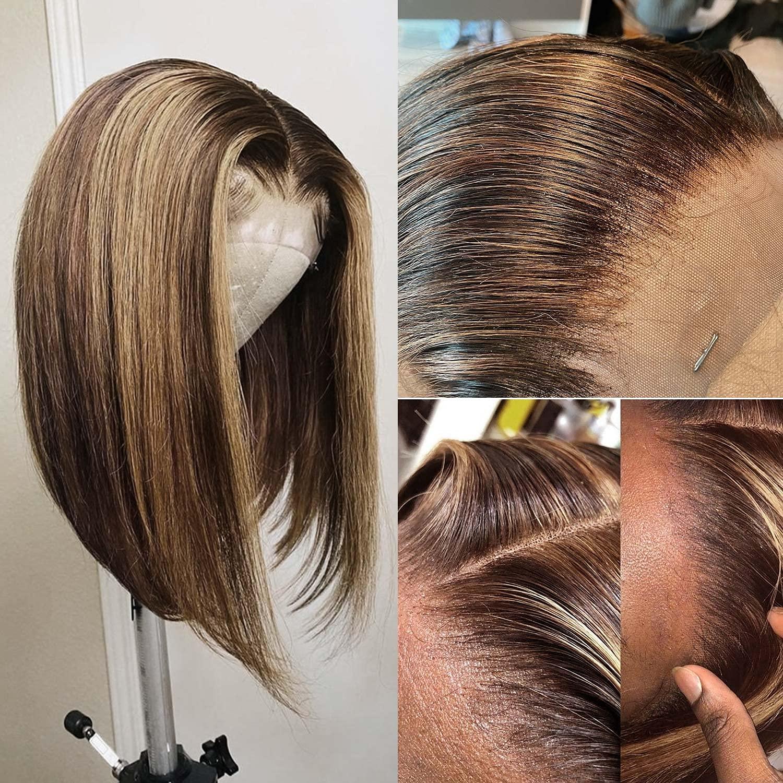Straight Fees free Lace Mail order cheap Front Human Hair Closu 4x4 Wigs Bob Highlight
