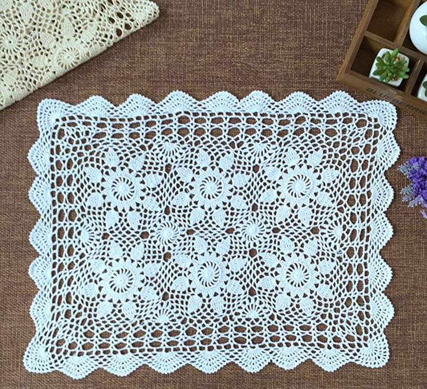 Damanni White Cotton Handmade Crochet Lace Table Runner Doilies Dresser Scarf 16 Inch By 24 Inch