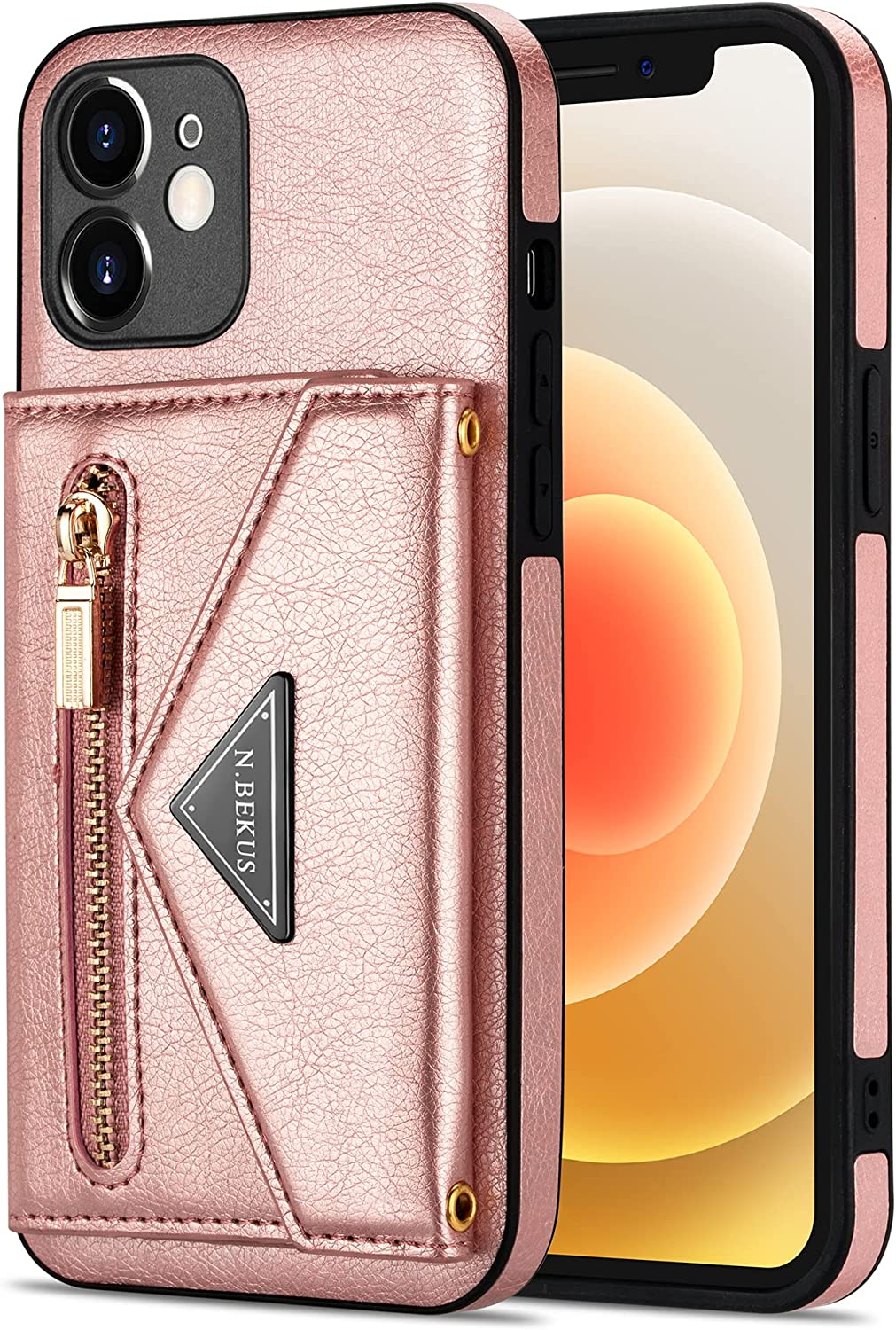 Crossbody Wallet Case for iPhone 12 with Card Holder, Zipper Back Flip Card Slot Protector Shockproof Purse PU Leather Cover with Removable Cross Body Strap (Rose Gold)