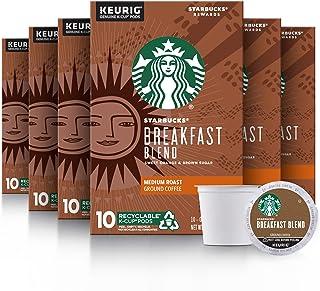 Starbucks Medium Roast K-Cup Coffee Pods — Breakfast Blend for Keurig Brewers — 6 boxes (60 pods total)