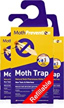 Powerful Moth Traps for Clothes Moths   3-Pack   Refillable, Odor-Free & Natural from MothPrevention   Best Catch-Rate for Clothes Moth and Carpet Moth Traps on The Market! - Results Guaranteed