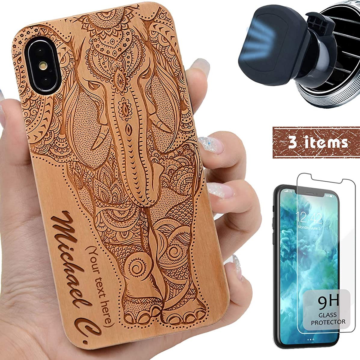 iProductsUS Wood Phone Case Compatible with iPhone XR,Magnetic Mount and Screen Protector-Engrave Elephant and Name Cases,Compatible Wireless Charger,Built-in Metal Plate, TPU Protective Cover (6.1