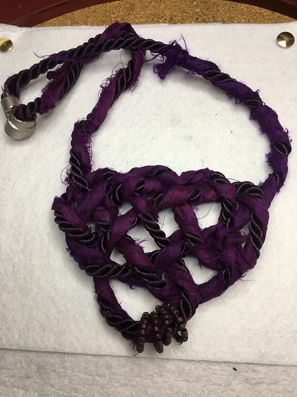 Purple sari Detroit Mall Great interest silk celtic bib knot necklace