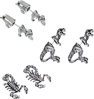 Dinosaur T-Rex, Puppy Dog and Scorpion 3D Earring Sets, Double Sided Studs