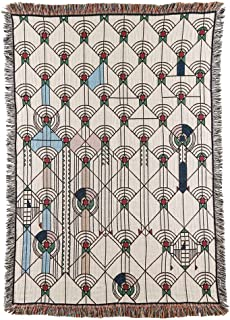 Frank Lloyd Wright April Showers Throw Blanket - All Cotton - 51 X 68