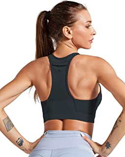 ulsfaar Yoga Sports Bra with Pockets High Impact Crossover Plus Size Running Workout Cardio Top with Removable Pad