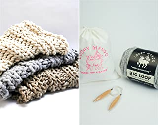 Loopy Mango DIY Knit Kit Nantucket Throw 28'' x 40'' (70cm x 100cm) (Heather Grey)