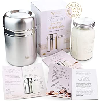 Stainless Steel Yogurt Maker with 1 Quart Glass Jar and Complete Recipe Book to Make 12+ Easy Homemade Dairy Free and Milk Yogurts