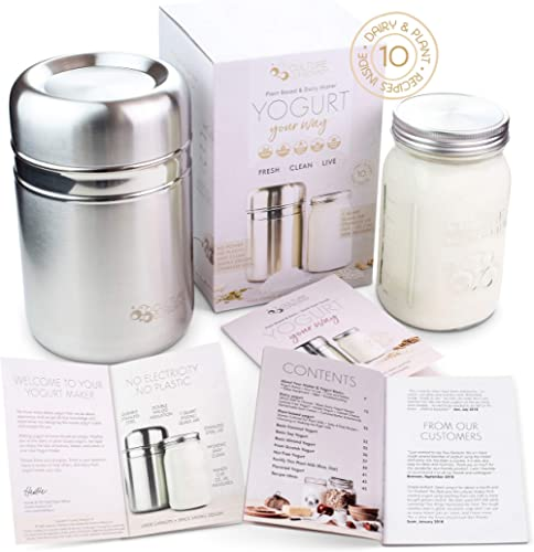 Stainless Steel Yoghurt Maker with 1 Quart Glass Jar and Complete Recipe Book to Make 12+ Easy Homemade Dairy Free an...