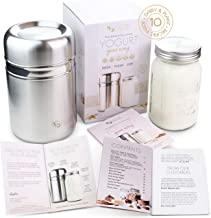 Stainless Steel Yoghurt Maker with 1 Quart Glass Jar and Complete Recipe Book to Make 12+ Easy Homemade Dairy Free and Mil...