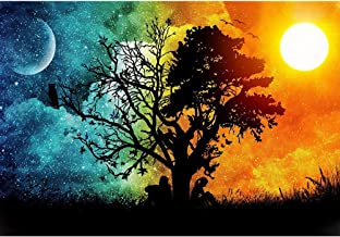 URlighting DIY 5D Diamond Painting Kits for Adults by Number Kits, Full Drill Embroidery Rhinestone Cross Stitch Arts Craft Canvas for Home Wall Decoration, 18 x 12 inch (Sun and Moon)