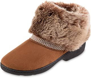 isotoner Women's Recycled Microsuede Mallory Boot Slipper, with Memory Foam, Cognac, 7.5-8
