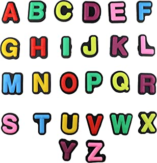 Alphabet 26 pcs Letters Charms for Shoes with Holes & Charm Bands & Shoes & Bracelet Wristband Kids Party Birthday Gifts, Halloween Treats, Treasure Box Toys, Cute Decoration for Shoes