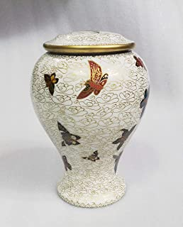 Divinityurns Golden Ivory with Butterfly Brass Cremation Urn - Brass Cremation Urn - Handcrafted and Affordable Large Urn for Human Ashes - Adult Funeral Urn