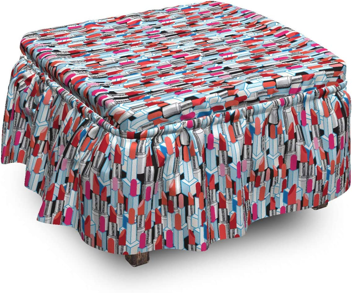 Lunarable Max 77% OFF Fashion Ottoman Cover Woman Pattern Lipsticks Special price Piec 2