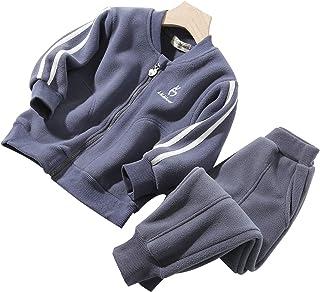 amropi Girls Boys Fleece Tracksuit Stripe Zip Jacket and Bottom Trousers Set Jogging Suit for 2-10 Years