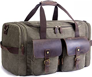 SUVOM Overnight Canvas Duffel Bag Leather Weekend Duffle Bag Travel Luggage Tote Bag (Army Green)