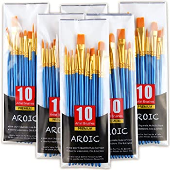 Acrylic Paint Brush Set, 6 Packs / 60 pcs Nylon Hair Brushes for All Purpose Oil Watercolor Painting Artist Professional Kits