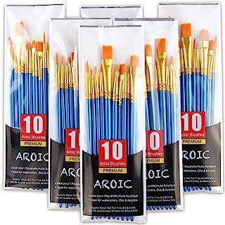 مجموعه برس قلم مو اکریلیک ، 6 بسته / 60 عدد برس مو نایلونی برای کلیه هدف های روغن آبرنگ نقاشی آبرنگ کیت حرفه ای