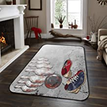 Gsypo Indoor Modern Area Rugs- Sketch Bowling Shoes Non-Slip Carpet Contemporary Mat for Runner Hallway Entryway Hardwood Floors and All Surfaces, 5' x 8'
