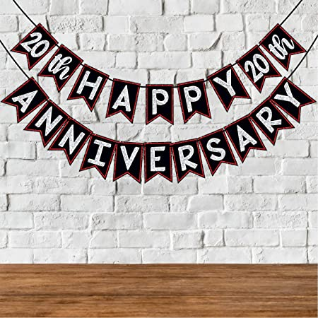 Wobbox 20th Anniversary Bunting Banner, Red Gliter & Black , Anniversary Party Decoration