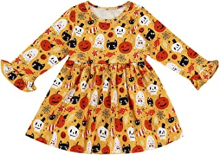 GRNSHTS Halloween Baby Girls Pumpkin Dress Toddler Kids Cosplay Bell Long Sleeve Skirt Custom Skull Playwear Set