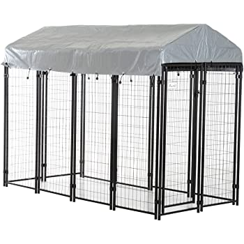 PawHut Large Outdoor Dog Kennel Galvanized Steel Fence with UV-Resistant Oxford Cloth Roof & Secure Lock