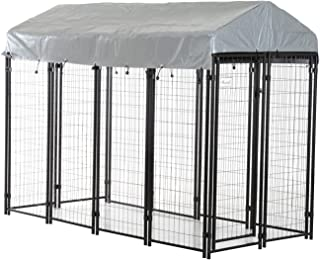 PawHut Outdoor Galvanized Metal Dog Kennel Playpen with UV and Water Resistant Tarp Cover, 97 inch