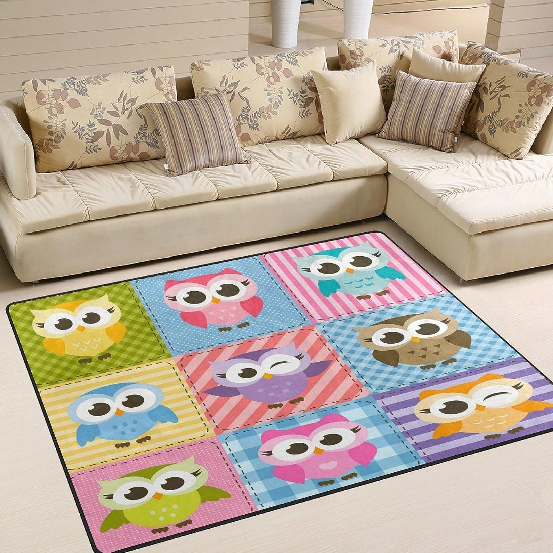 ALAZA Happy Cartoon Owl Christmas Area Rug Rugs for Living Room Bedroom 7' x 5'