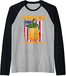 Trumpkin Jack-O'-Lantern Carved Pumpkin Corn Husk Hair Raglan Baseball Tee