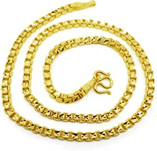 Chain 22K 23K 24K Thai BAHT Gold GP Necklace 24 inch 55 Grams 5 MM Jewelry Earring 1 Pair