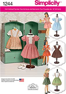 Simplicity Creative Patterns 1244 Vintage 18-Inch Doll Clothes, Size: Os One Size